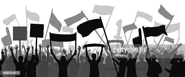 crowd (all complete people, a clipping path hides the legs) - protestor stock illustrations, clip art, cartoons, & icons