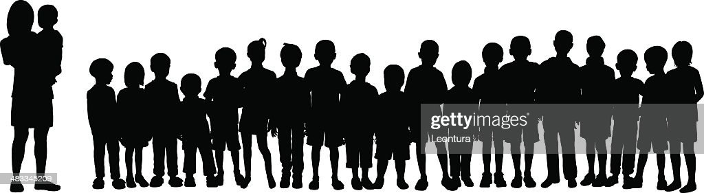 Crowd (Silhouettes Are Moveable and Complete) : stock illustration
