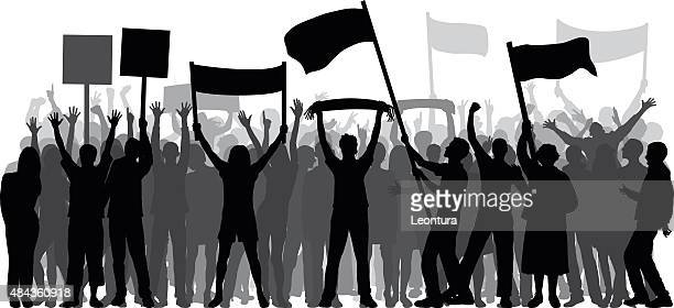 crowd (80 complete, moveable, detailed people) - protestor stock illustrations, clip art, cartoons, & icons
