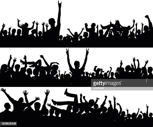 crowd (all complete people, a clipping path hides the legs) - concert stock illustrations