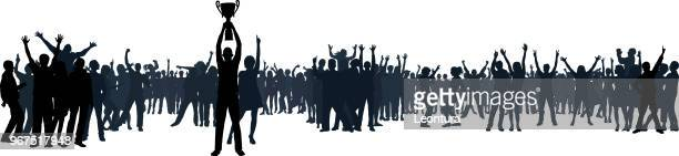 crowd (people are complete and moveable- clipping path hides legs) - fan enthusiast stock illustrations