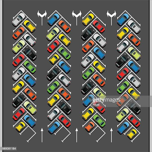 crowded 45 degree parking lot - showroom stock illustrations, clip art, cartoons, & icons