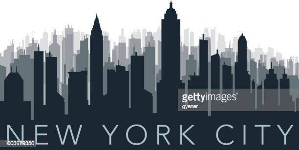 illustrations, cliparts, dessins animés et icônes de silhouette de la ville surpeuplée - new york city