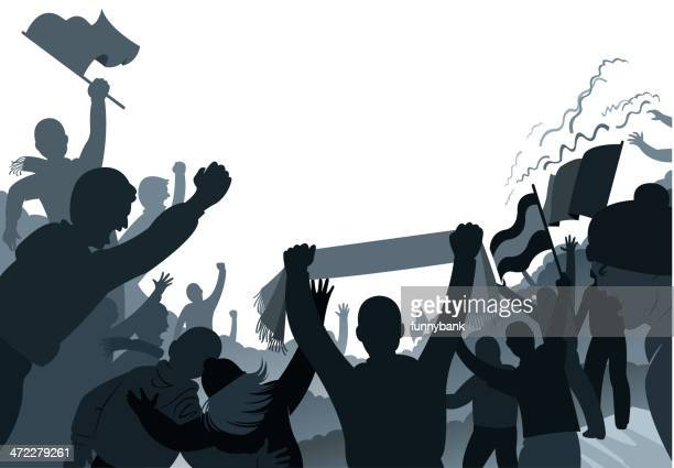 crowded fans - scarf stock illustrations