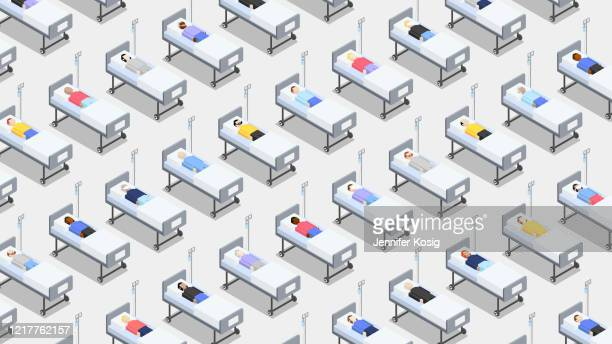 crowded hospital with closely standing hospital beds - chaos stock illustrations