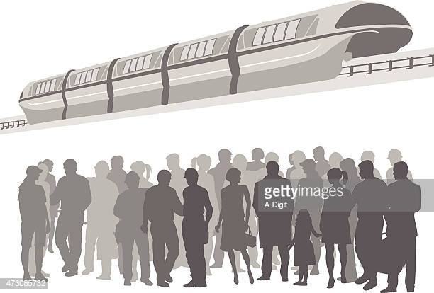 crowded public transport - commuter stock illustrations, clip art, cartoons, & icons
