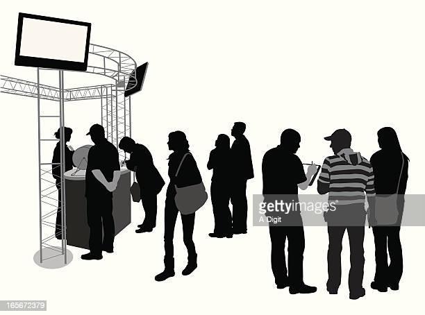 ilustraciones, imágenes clip art, dibujos animados e iconos de stock de crowdedshow - exhibir