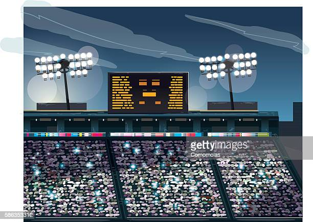 crowded stadium - scoreboard stock illustrations