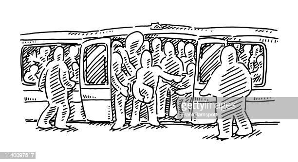 Crowded Subway Train Drawing