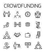 Crowdfunding related vector icon set.