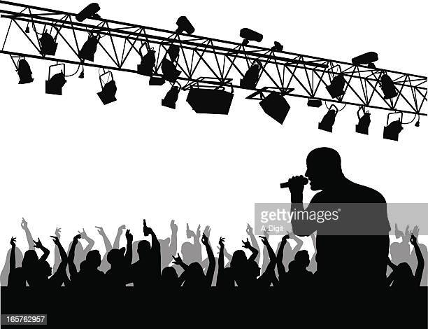 crowd'n lights vector silhouette - stage light stock illustrations