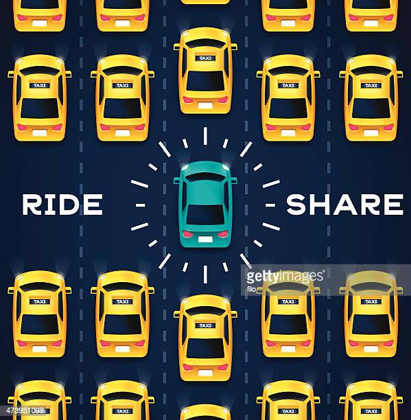 crowdsourced transportation services - yellow taxi stock illustrations, clip art, cartoons, & icons