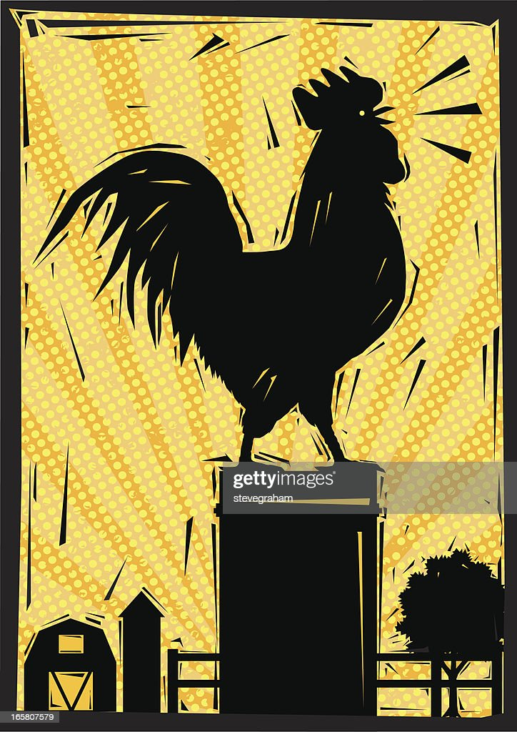 Crowing Rooster In The Farmyard