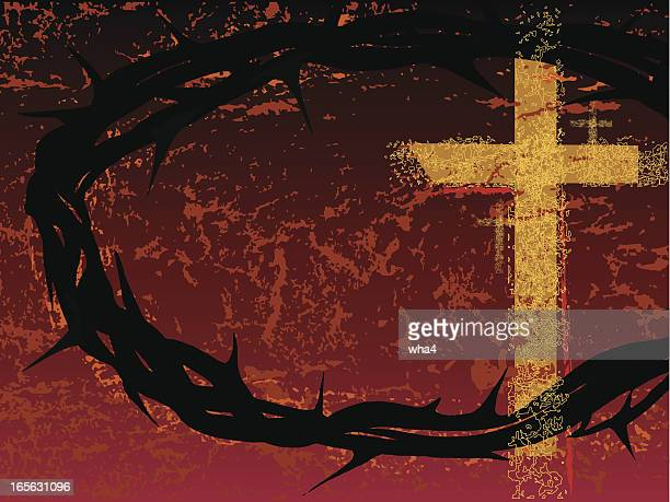 crown and crosses - holy week stock illustrations, clip art, cartoons, & icons