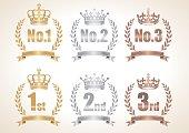 Crown Anniversary ribbon icon set ,vector