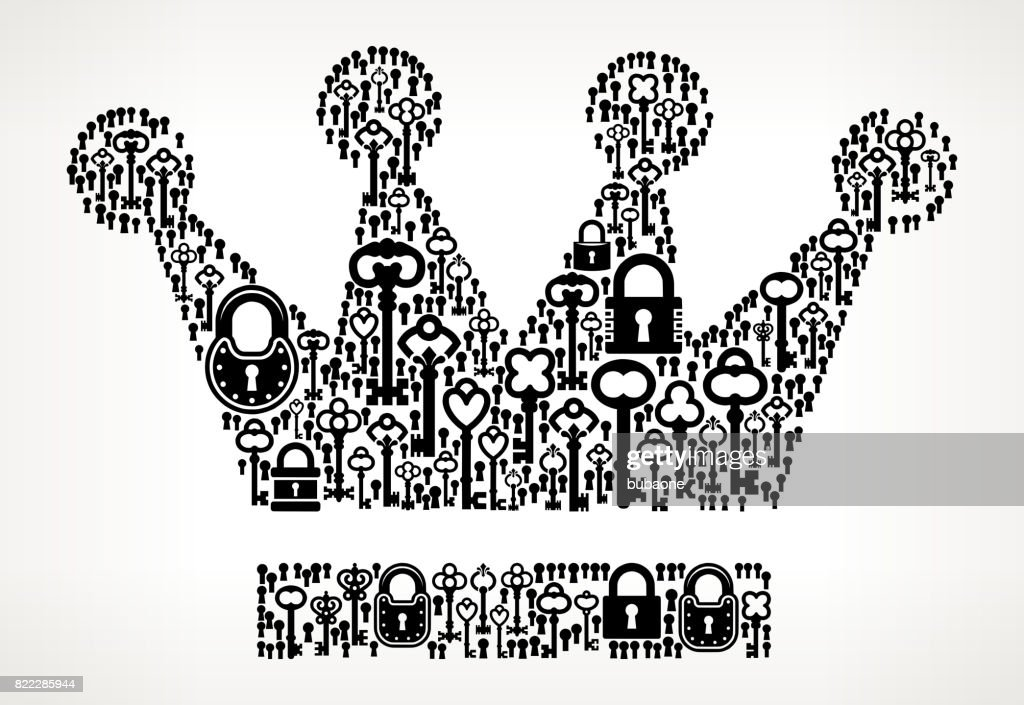 Crown  Antique Keys Black and White Vector Pattern : stock illustration