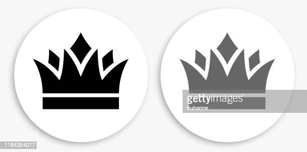 krone schwarz und weiß runde symbol - krone kopfbedeckung stock-grafiken, -clipart, -cartoons und -symbole