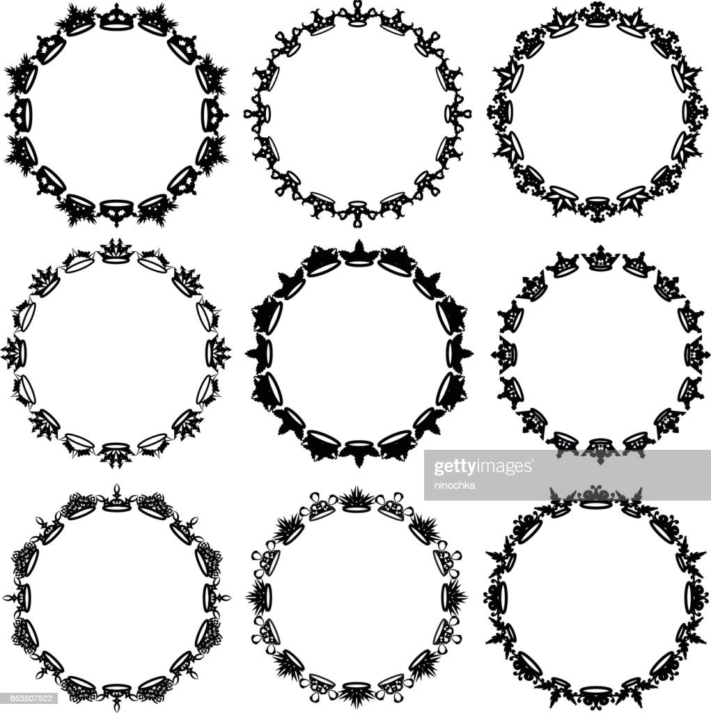 Crown Circle Frames Vector Art | Getty Images