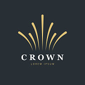 Crown fireworks icon design. Creative abstract icon vector template.