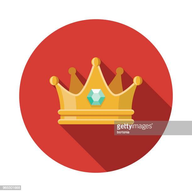 crown flat design fantasy icon - medieval queen crown stock illustrations