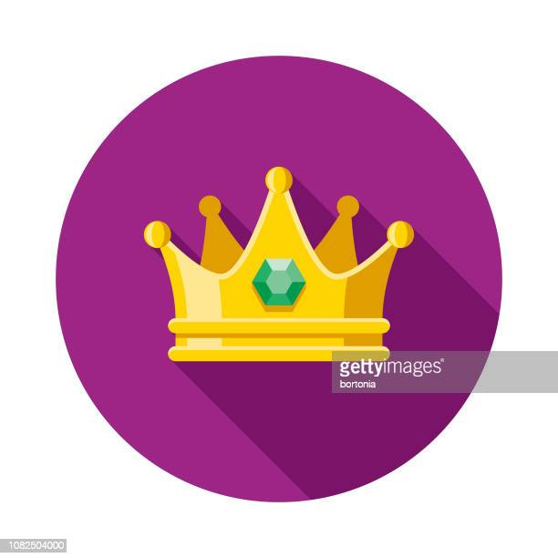 illustrazioni stock, clip art, cartoni animati e icone di tendenza di crown flat design mardi gras icon - corona reale