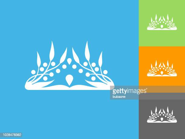 Crown  Flat Icon on Blue Background