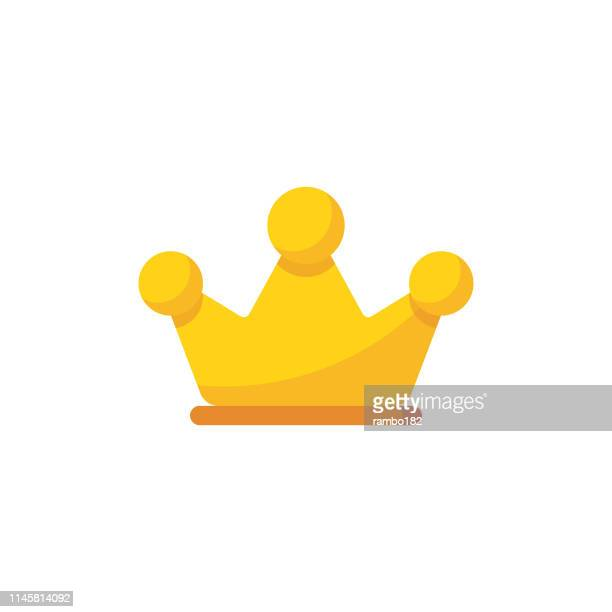 illustrazioni stock, clip art, cartoni animati e icone di tendenza di crown flat icon. pixel perfect. for mobile and web. - corona reale