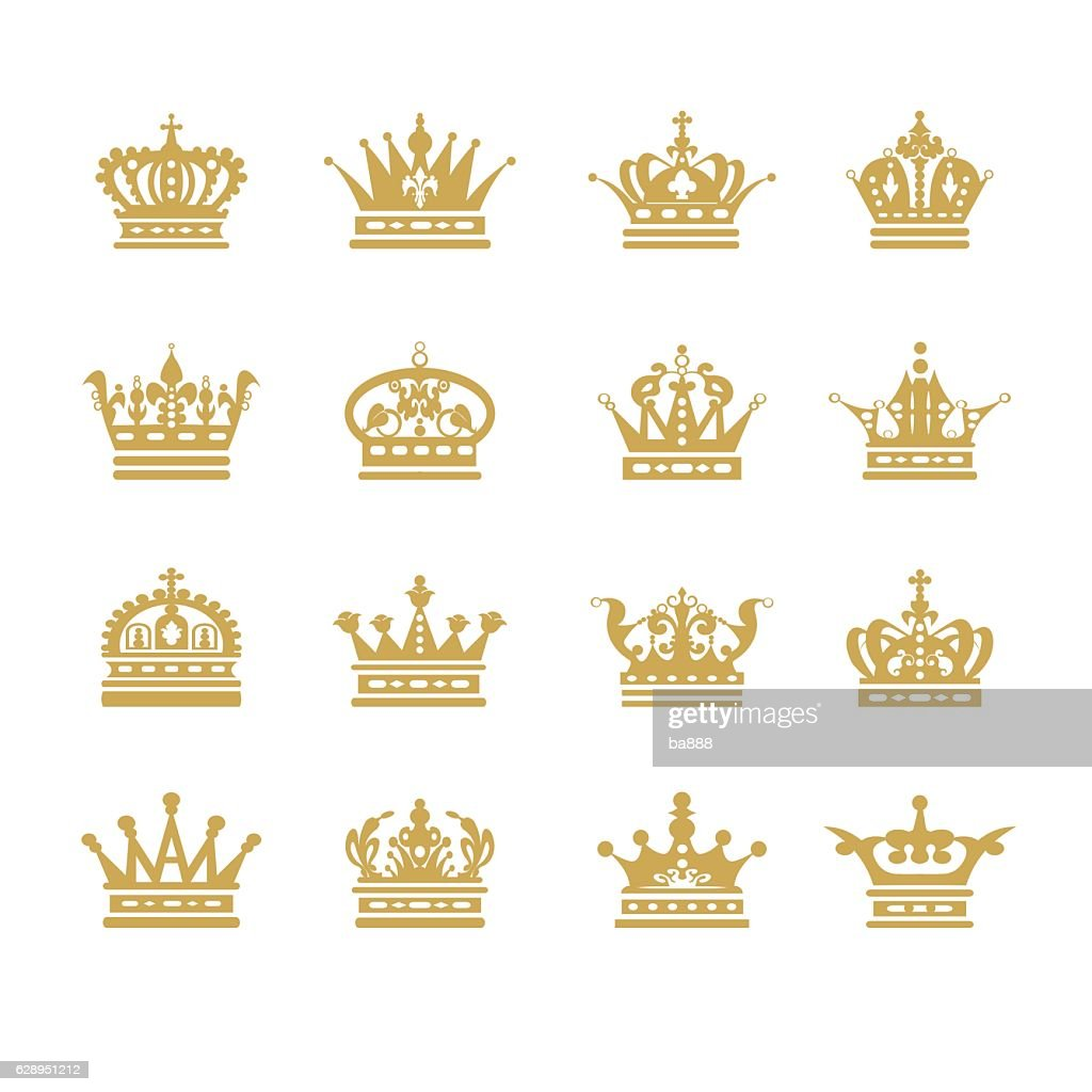 crown flat icons symbol set