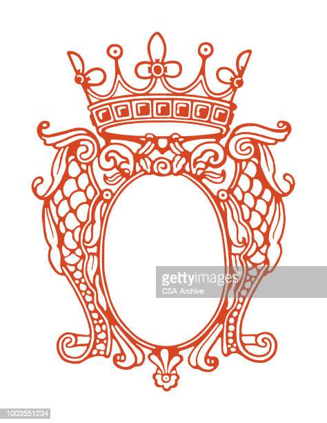 crown frame enclosure - queen royal person stock illustrations, clip art, cartoons, & icons
