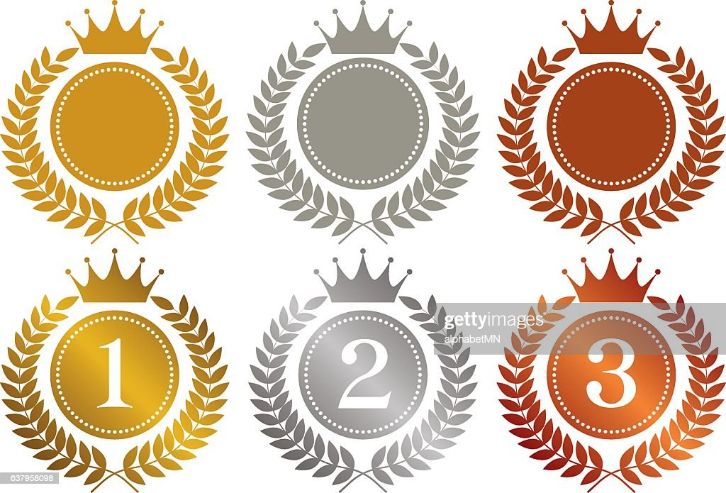 crown. gold medal. silver medal. bronze medal.