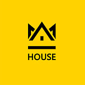 Crown House. Vector design element. Real estate. House icon