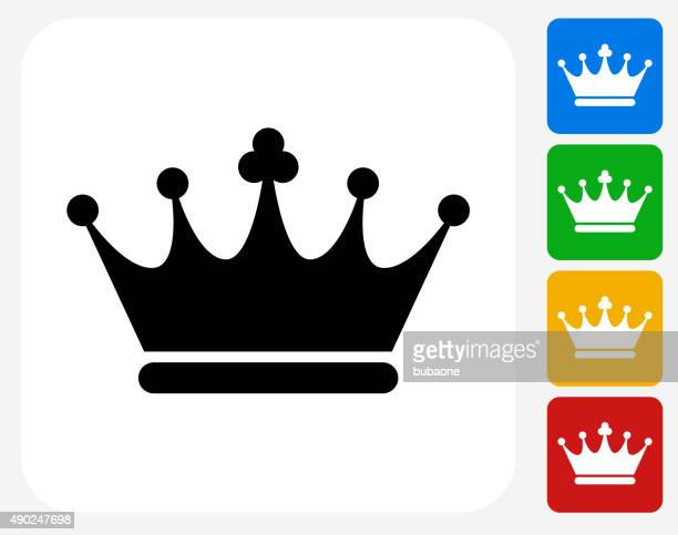 crown icon flat graphic design - queen royal person stock illustrations, clip art, cartoons, & icons