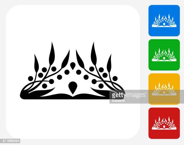 crown icon flat graphic design - tiara stock illustrations, clip art, cartoons, & icons