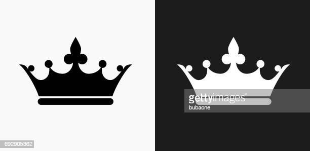 crown icon on black and white vector backgrounds - queen royal person stock illustrations