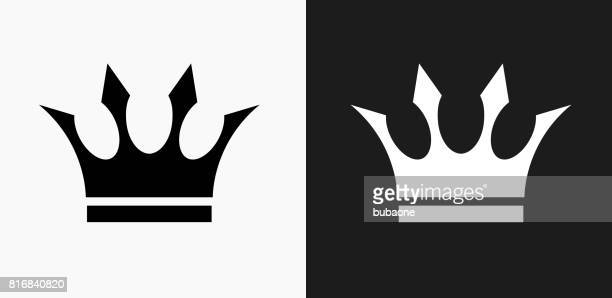 crown icon on black and white vector backgrounds - crown stock illustrations