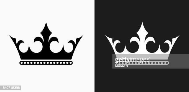 crown icon on black and white vector backgrounds - king royal person stock illustrations, clip art, cartoons, & icons