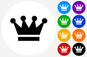 Crown Icon on Flat Color Circle Buttons