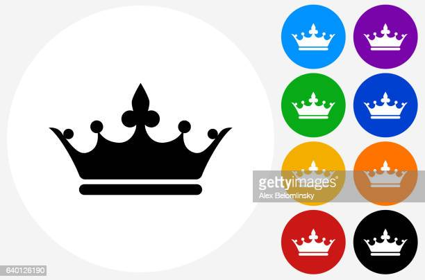 crown icon on flat color circle buttons - queen royal person stock illustrations, clip art, cartoons, & icons