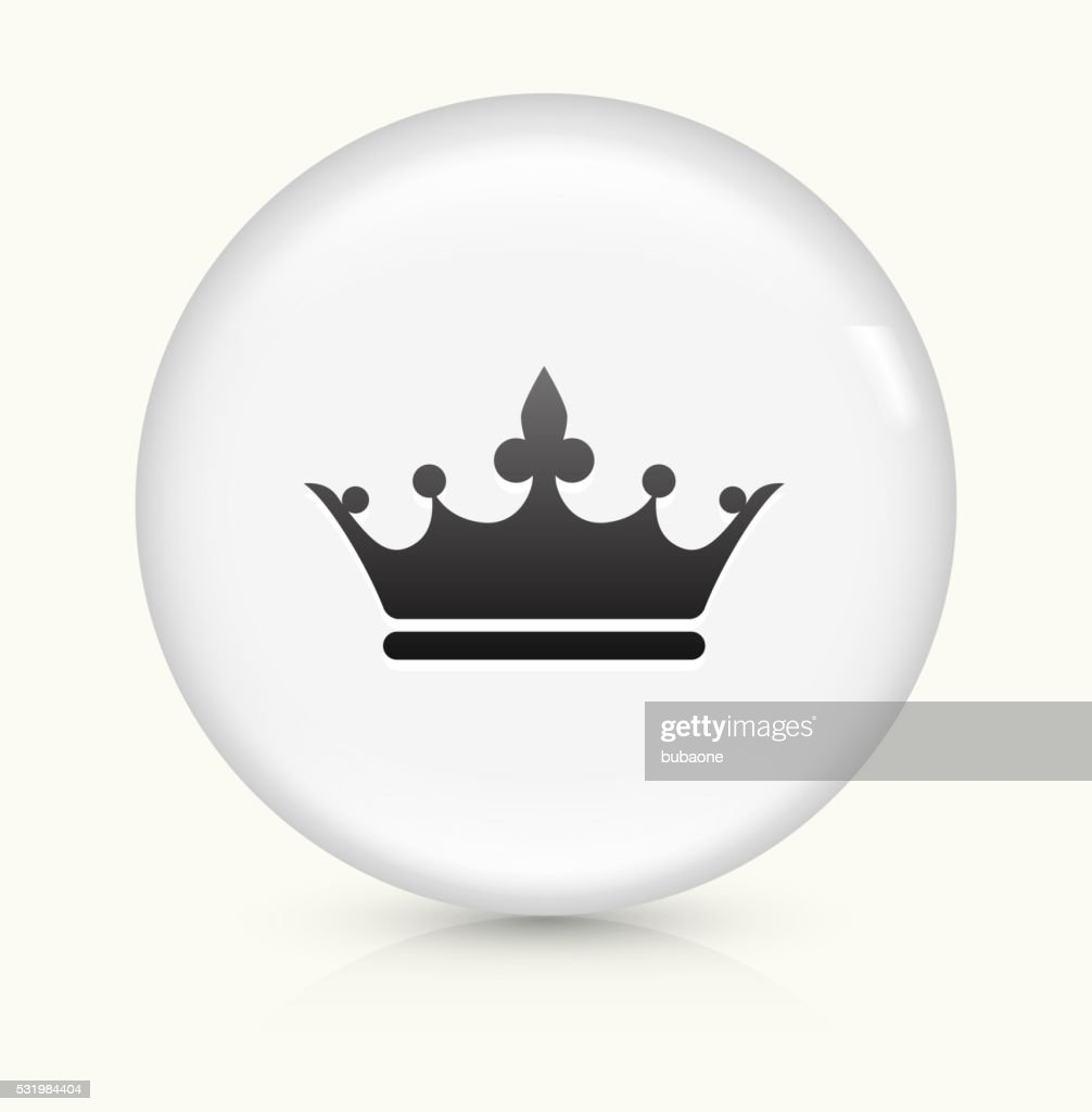 Crown icon on white round vector button