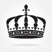Crown icon or sign isolated on white background. Black silhouette. Vector illustration