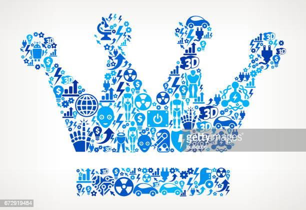 Crown Icon Robot and Robotics Automation Vector Pattern