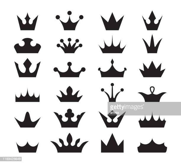 crown icon set. - medieval queen crown stock illustrations