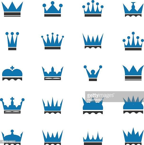 crown icon set - corona zon stock illustrations