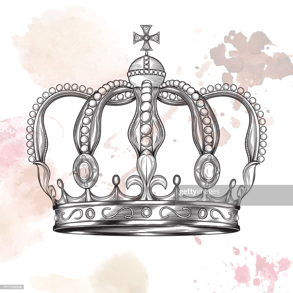 Crown in engraving style