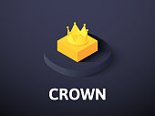 Crown isometric icon, isolated on color background