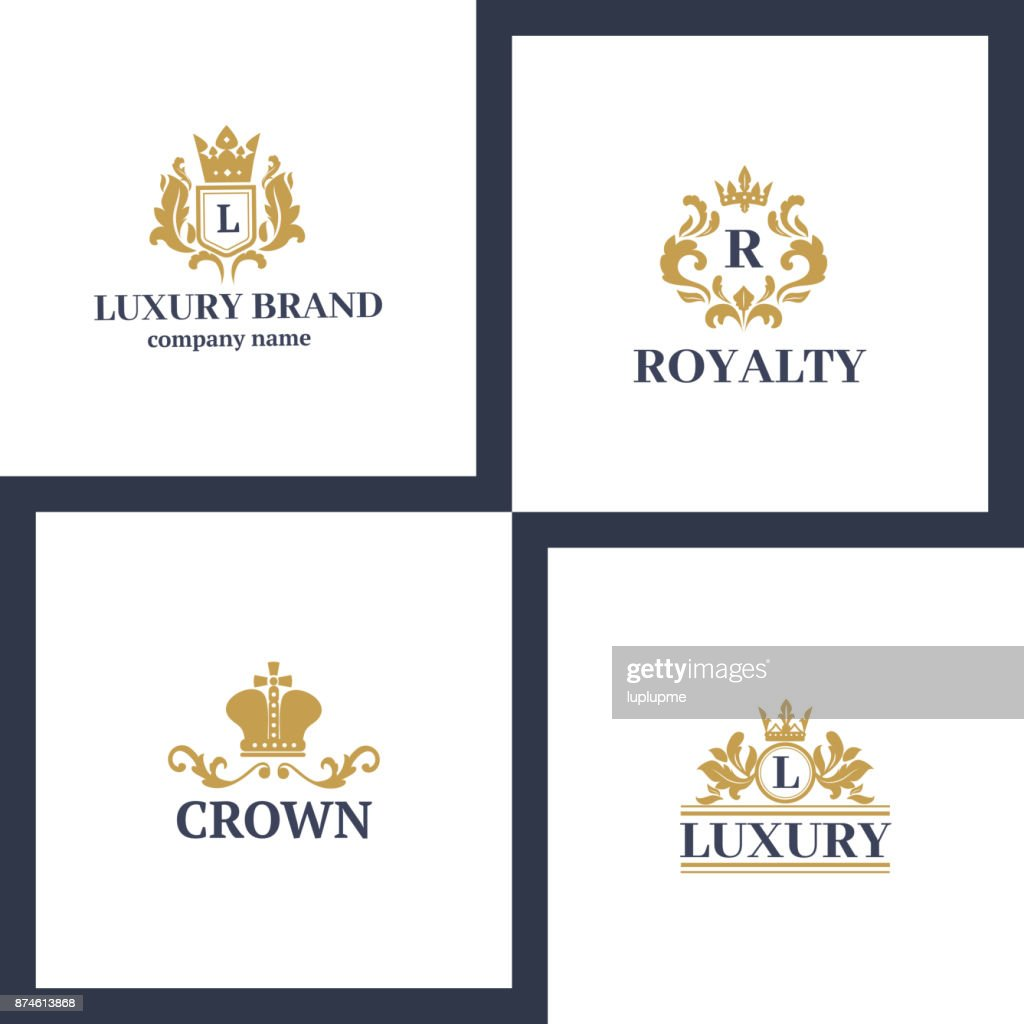 Crown king vintage premium white badge heraldic ornament luxury kingdomsign vector illustration