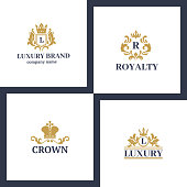 Crown king vintage premium white badge heraldic ornament luxury kingdomsign vector illustration