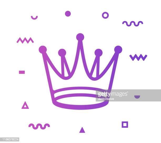 crown line style icon design - crown stock illustrations