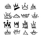 Crown logo graffiti icon. Black elements isolated on white background. Vector illustration.Queen royal princess.Black brush line.hipster style. Doodle hand drawn crown set