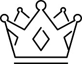 Crown of the king or royal crown line art icon